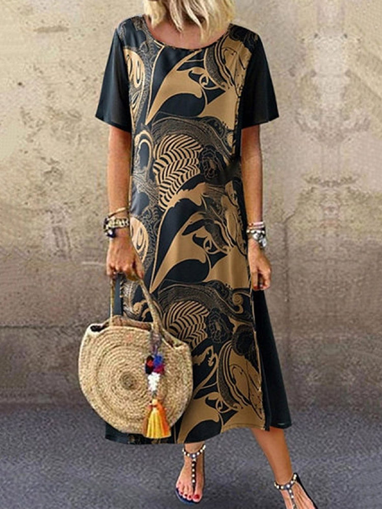 Vintage Printed Short Sleeve Round Neck Midi Dress