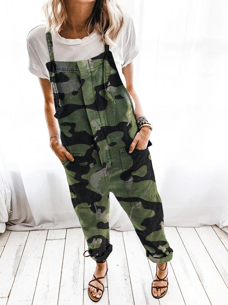 Green Shift Casual Denim Camouflage Jumpsuit