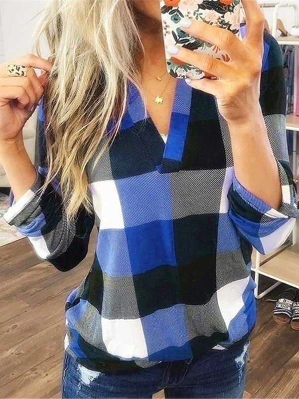 V-neck Check Shirt