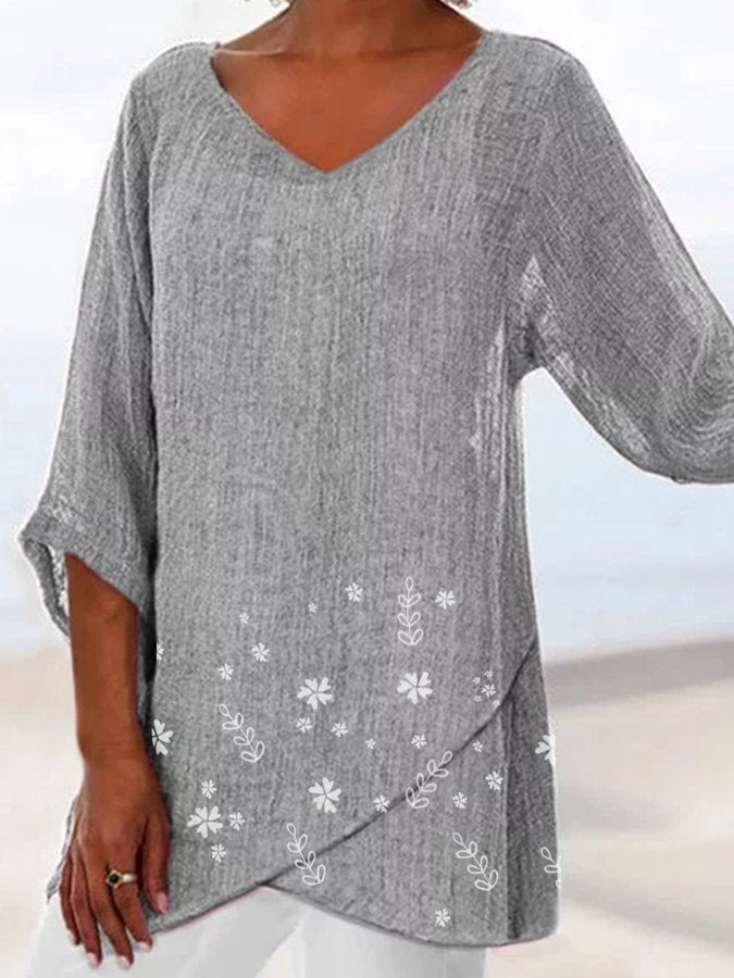 Gray 3/4 Sleeve Linen V Neck Shift Floral Printed Shirts & Tops