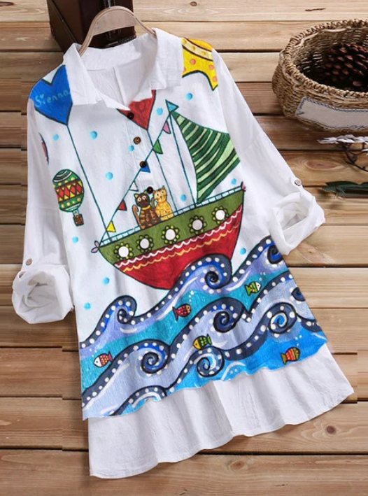 Casual Printed long-sleeved Shirt