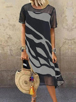 Black Casual Printed Short Sleeve Dresses