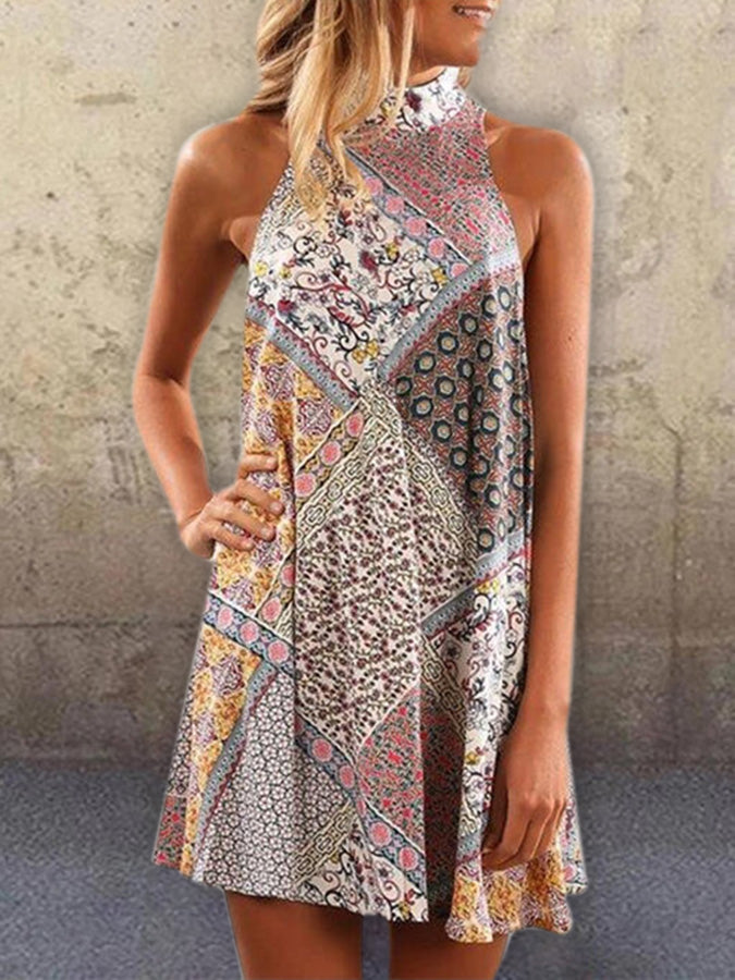 Multicolor Shift Vintage Geometric Sleeveless Dresses
