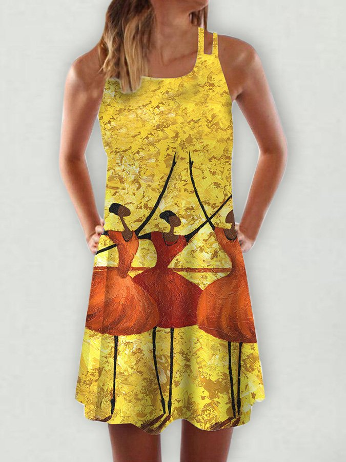 Abstract Sleeveless Dresses