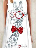 White Crew Neck Printed A-Line Sleeveless Dresses