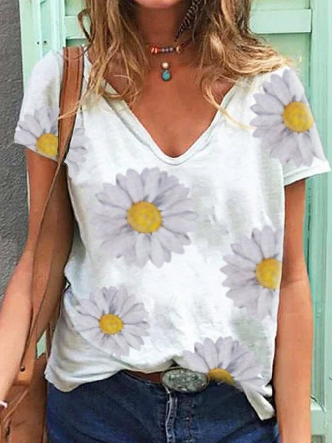 White Short Sleeve V Neck Shirts & Tops