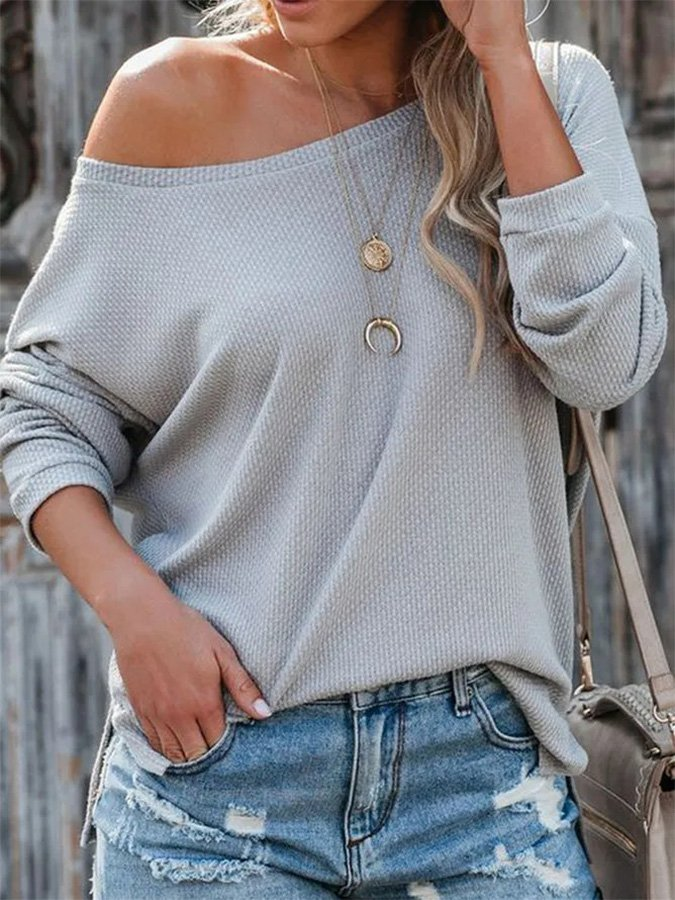 Solid Color Casual Long Sleeve Top