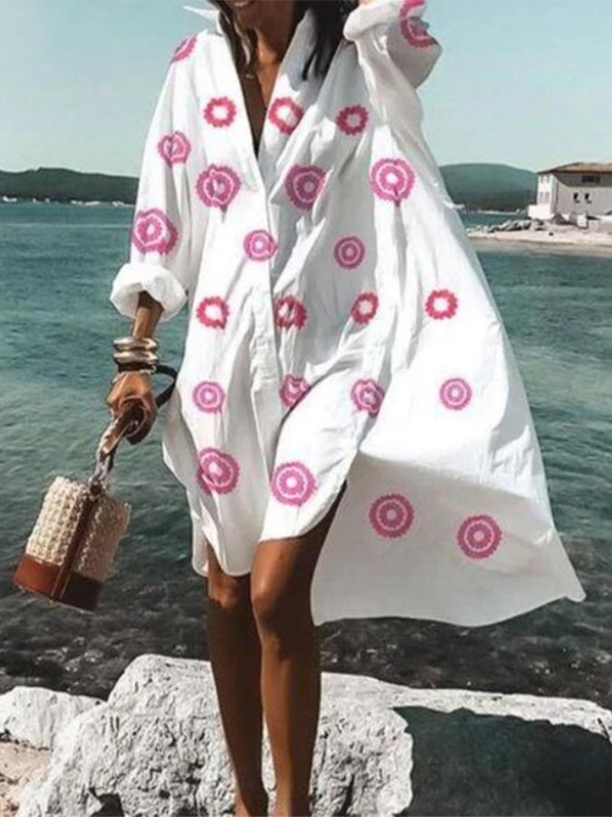 Long Sleeve Printed Floral Casual Dress