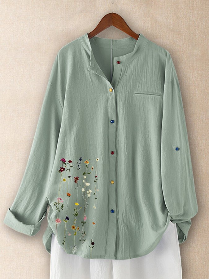 Embroidered Casual Cotton And LinenL Top