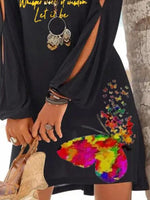 Black Holiday Long Sleeve Printed Animal Dresses