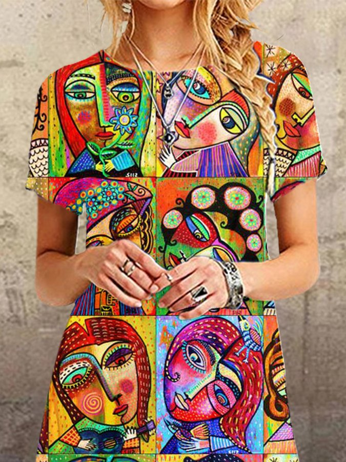 Casual Abstract Printed Short Sleeve Dresses