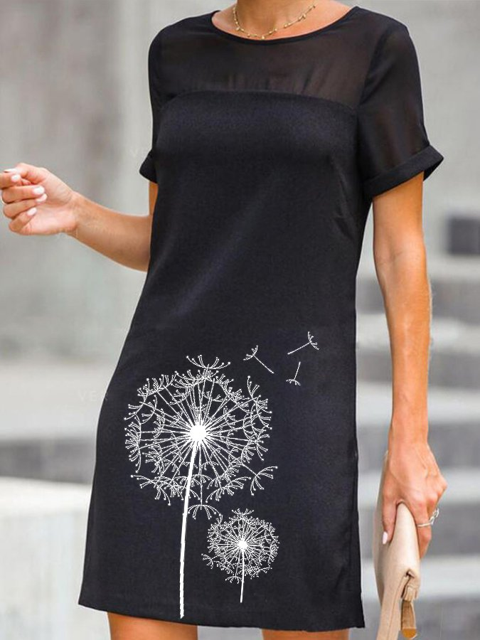 Black A-Line Crew Neck Short Sleeve Dresses
