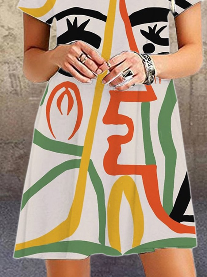 Off White Casual Abstract Printed Crew Neck Dresses
