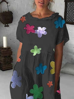 Printed Doll Collar Short Sleeve Casual Pockets Dresses