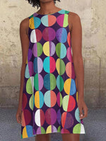 Color Polka Dots Pockets Sleeveless A-line Dresses