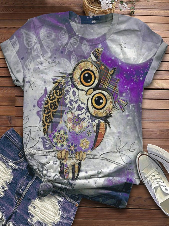 Purple Cotton-Blend Statement Printed Shirts & Tops