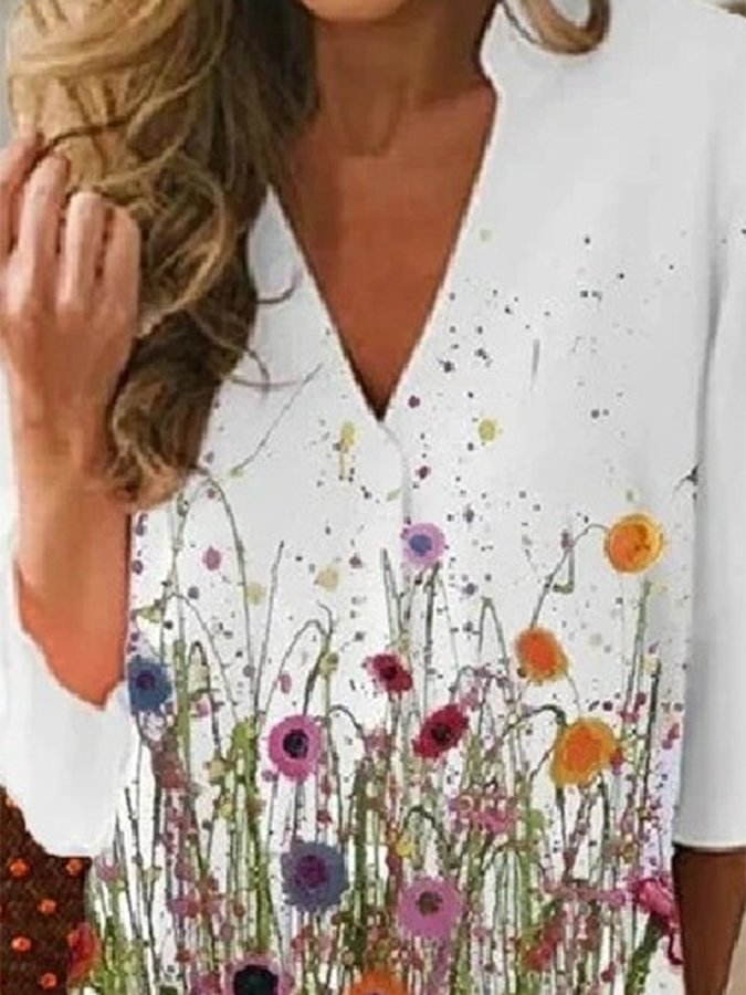 White Floral A-Line 3/4 Sleeve Shirts & Tops