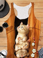 Brown Scoop Neckline Cat Printed Sweet & Cute Vests