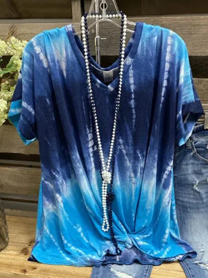 Blue Shift V Neck Casual Ombre/tie-Dye Shirts & Tops