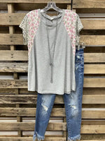 Gray Crew Neck Shift Short Sleeve Printed Shirts & Tops
