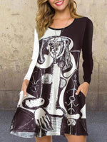 Black Crew Neck A-Line Casual Dresses