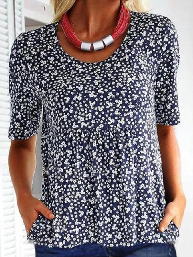 Blue Casual Short Sleeve Printed Polka Dots Shirts & Tops