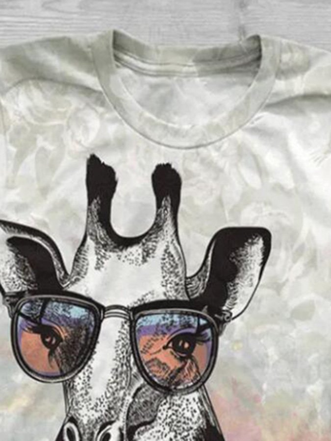 Gray Printed Animal Shift Short Sleeve Shirts & Tops