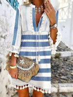Blue Striped Shift Printed Tassel Holiday Dresses