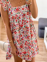 Red Square Neck Sleeveless Sweet Floral Dresses