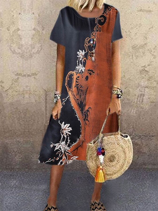Black Brown Linen Plant Vintage A-Line Dresses
