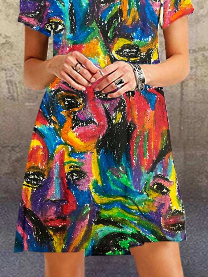 Multicolor Abstract Short Sleeve Dresses