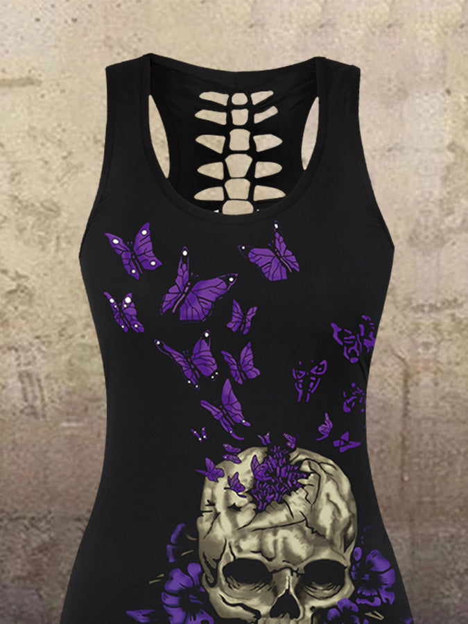 Bufferfly And Skull Printed Sleeveless Round Neck Cutout Shirts & Tops