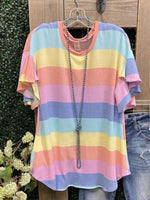 Color Stripes Shift Casual Printed Shirts & Tops