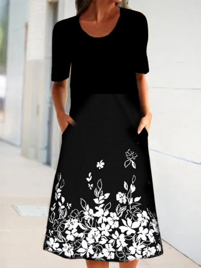 Black Casual Short Sleeve A-Line Printed Dresses