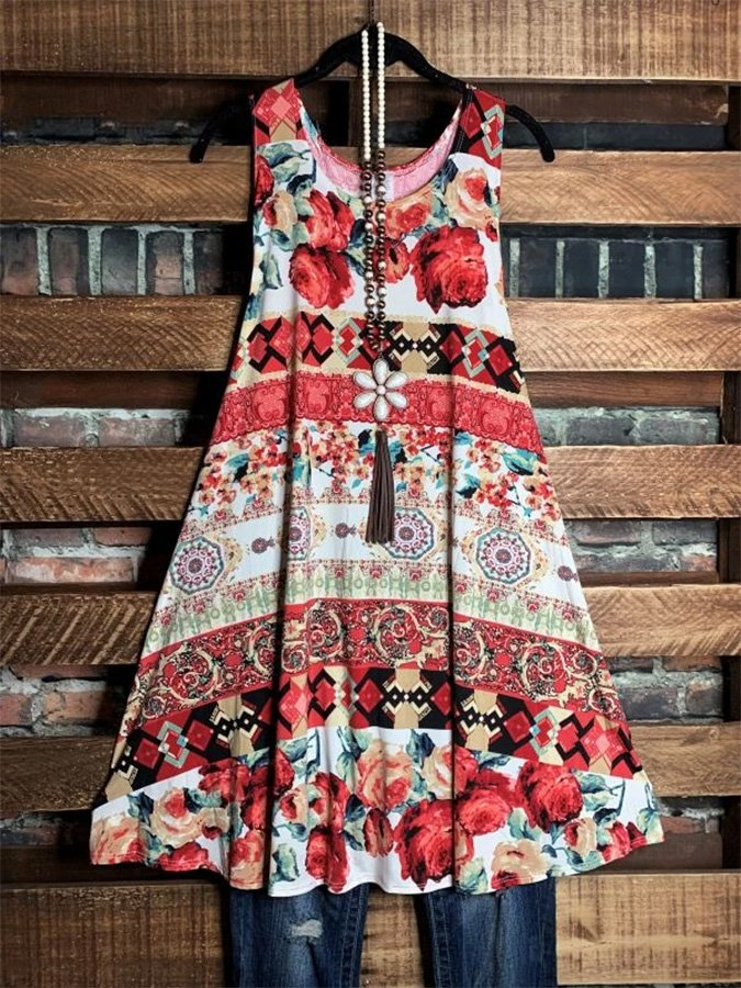 FLORAL SLEEVELESS DRESS IN MULTI-COLOR