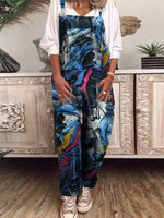 Graffiti Vintage Printed Cotton And Linen Jumpsuit