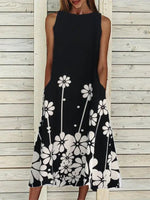 Black Boho Swing Printed Crew Neck Dresses