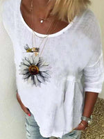 White Linen Half Sleeve Crew Neck Simple Shirts & Tops