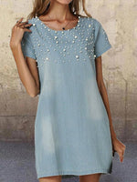 Sky Blue Solid Short Sleeve Beaded Denim Dresses