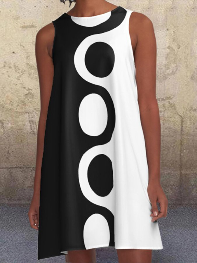 Black White Mod A-Line Geometric Polka Dots Pockets Dress