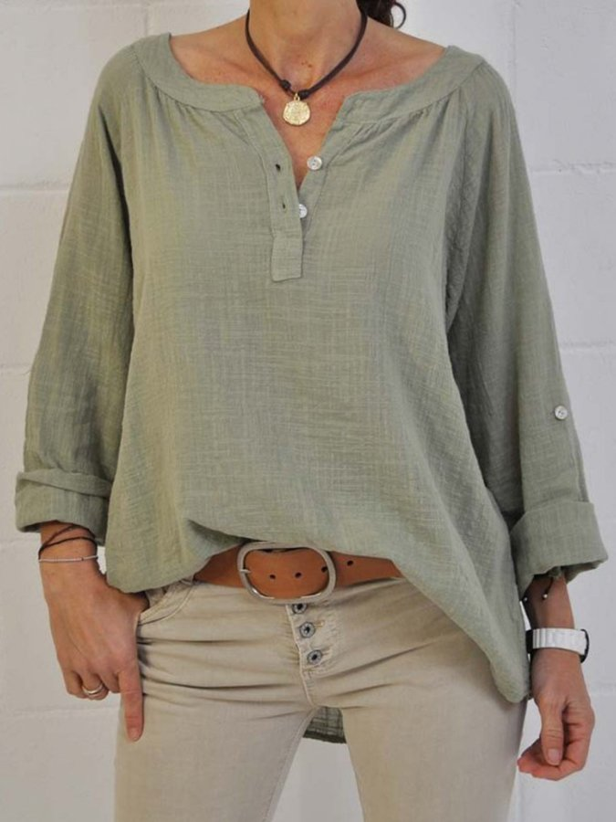 Shift Casual V Neck Long Sleeve Shirts & Tops