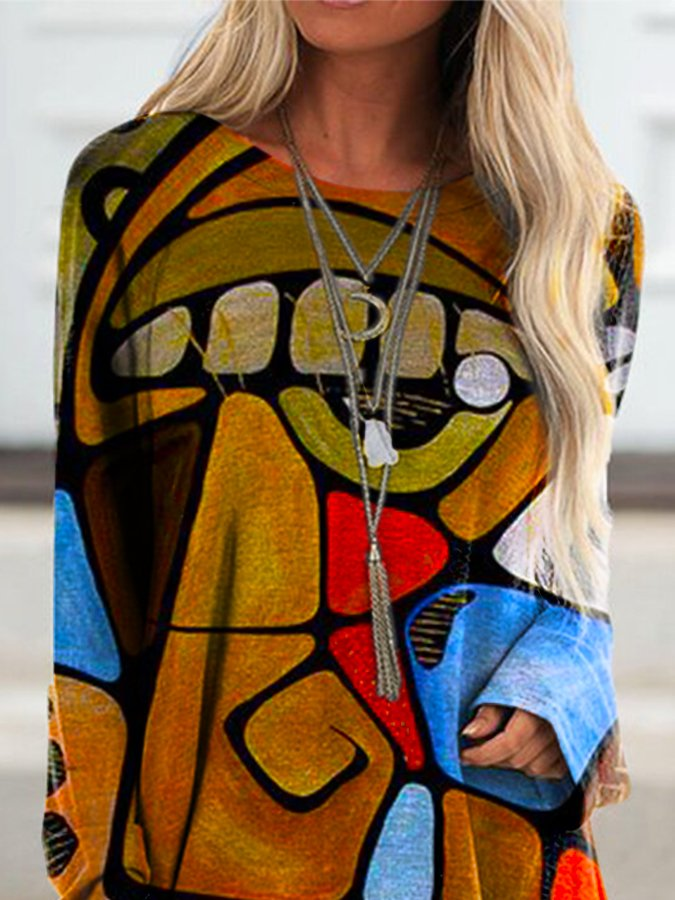 OP Abstract Print Long Sleeve Top