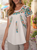 White Shift Embroidery Short Sleeve Crew Neck Dresses