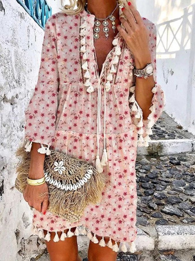 Red Printed Floral Tassel Shift 3/4 Sleeve Dresses