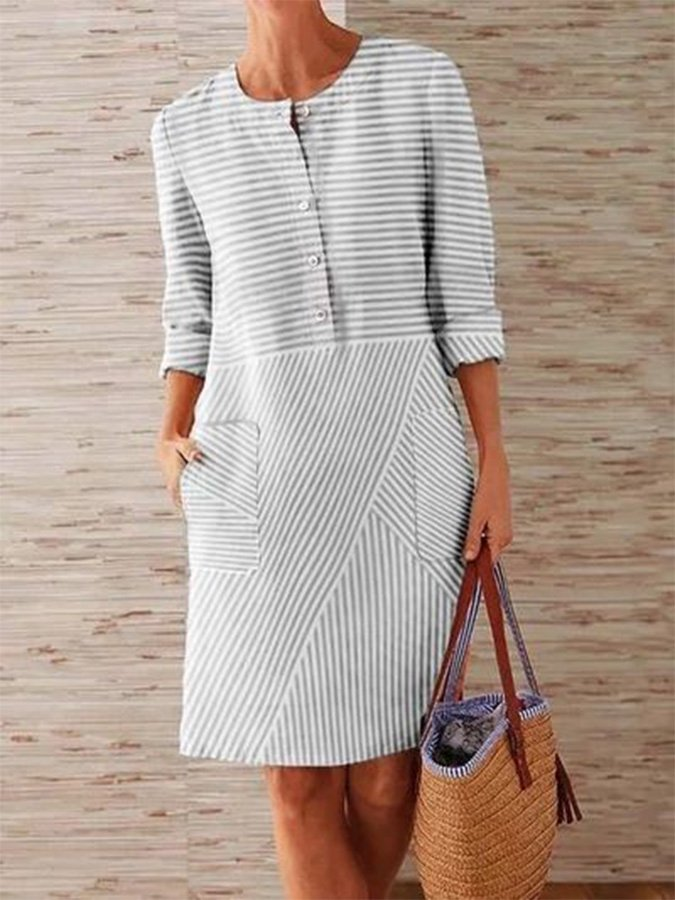 Stripes Paneled Casual Linen Dresses