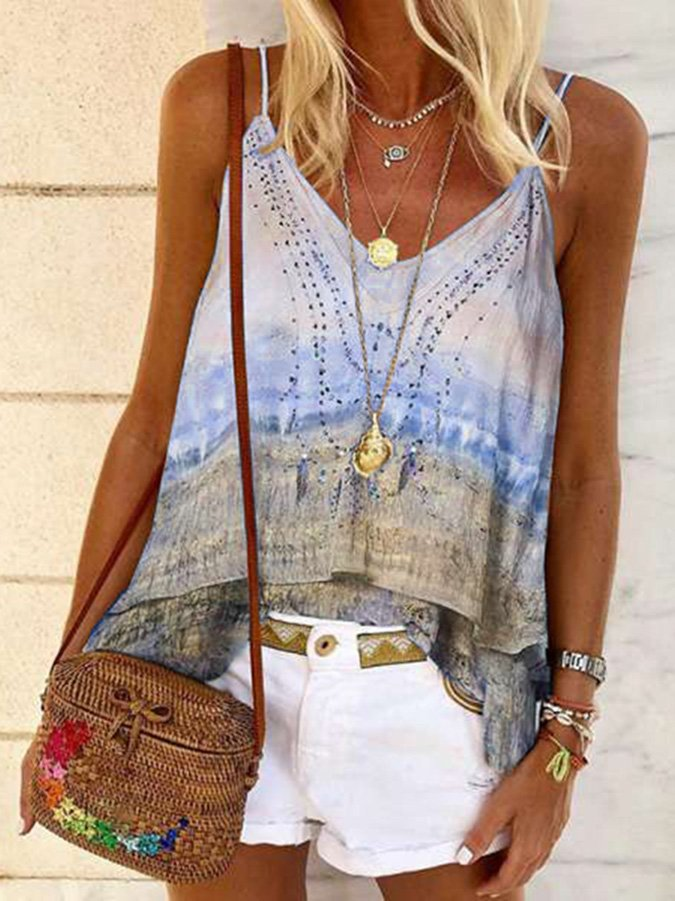 Shift Ombre/tie-Dye Sleeveless Casual Shirts & Tops