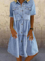 Blue Denim Casual Shirt Collar Solid Dresses