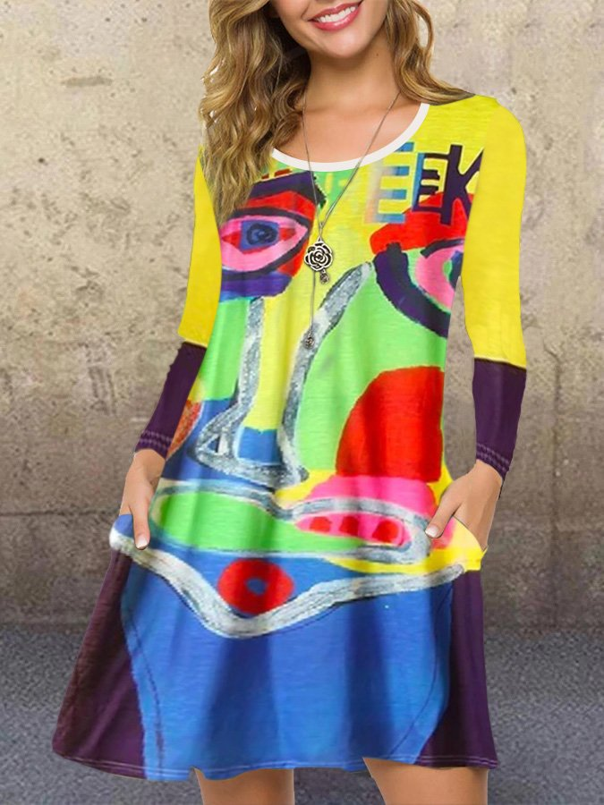 Yellow Shift Abstract Long Sleeve Dresses