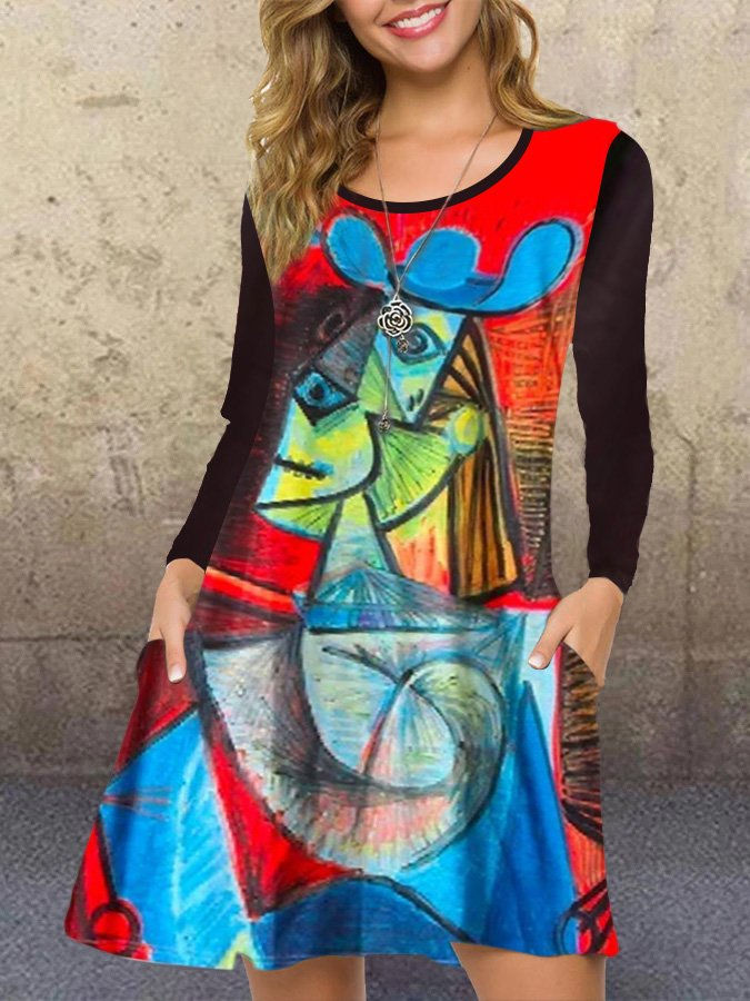 Crew Neck Casual Abstract A-Line Dresses