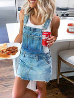 Sheath Casual Denim One-Pieces